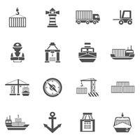Zeehaven zwarte pictogrammen instellen vector