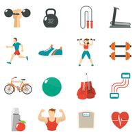 Fitness pictogram platte set vector