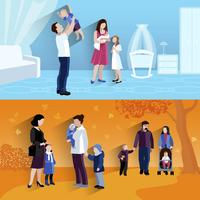 Ouderschap 2 platte banners icomposition vector