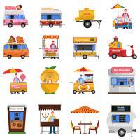 Straatvoedsel Icons Set vector