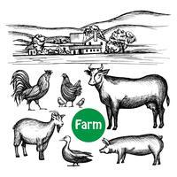 Hand getrokken boerderij ingesteld