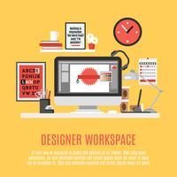 Ontwerper werkruimte illustratie vector
