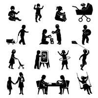 Kinderen zwarte set vector