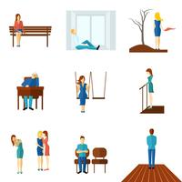 Eenzame mensen platte Icon Set vector