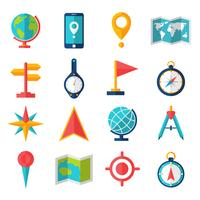 Cartografie Flat Icon Set vector