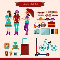 Hipster meisje ingesteld vector