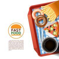 Snel voedsel dienblad achtergrond poster