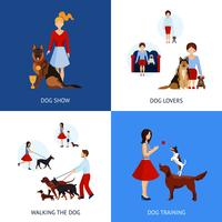 Mensen met honden instellen vector