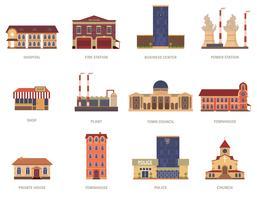 Geplaatste de uitstekende pictogrammen van stadsgebouwen vector