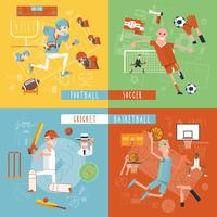 Teamsport vlakke pictogrammen vierkante banner vector