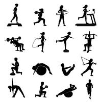 Fitness mannen vrouwen blackicons instellen