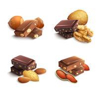 Chocolade met noten vector