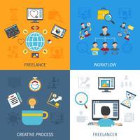Freelancer platte set vector