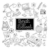 Terug naar school doodle poster zwart