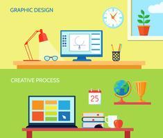 Werkruimte-bannerset vector