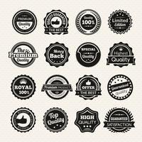 Vintage Premiumkwaliteit zwart-witte badges