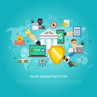 Online internet bankieren bescherming concept poster vector