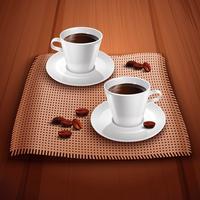 Koffie realistische achtergrond vector