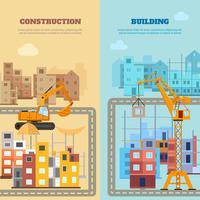 Bouw en bouw Banner Set vector