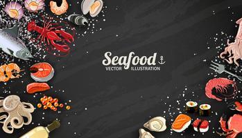 Zeevruchten en vis achtergrond vector