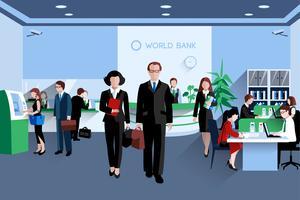 Mensen In Bank vector