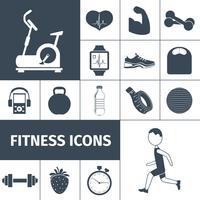 Fitness pictogrammen zwarte set vector
