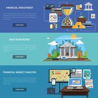 Financiering Banner Horizontale Set vector