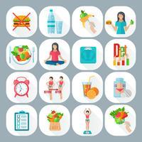 Gewicht losse dieet plat pictogrammen instellen vector