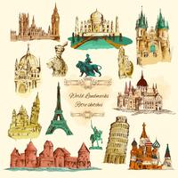 Wereld monumenten schets Vintage Icons Set