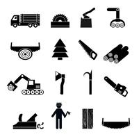 Houtbewerking industrie pictogrammen zwart