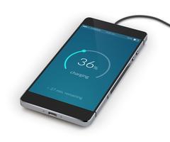 Smartphone wordt realistisch opgeladen vector