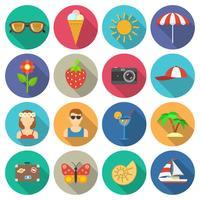 Zomer en vakanties pictogrammen instellen vector