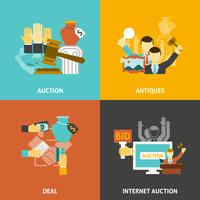Veiling Deal Icons Set vector