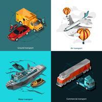 Vervoer Lage veelhoekige Icons Set vector