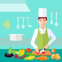 Vlak kleurconcept koken