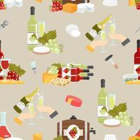 Kaas en wijn decoratief patroon vector