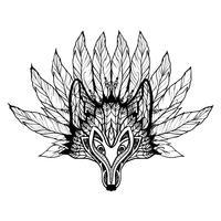 Doodle Wolfmasker vector