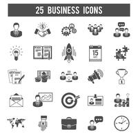 Opstarten van bedrijven zwarte pictogrammen instellen vector