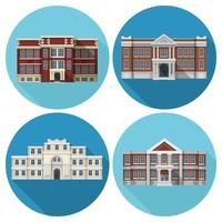 Schoolgebouw Flat vector