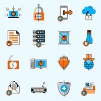 Gegevensbescherming lijn Icons Set