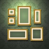 Gouden frames op de muur