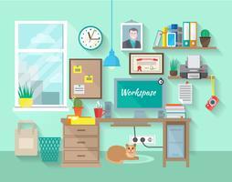 Werkplek in de kamer vector