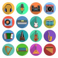 Melodie en muziek Icons Set vector