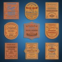 Lederen klassieke denim jeans labels set vector