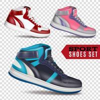 Kleur sportschoenen op transparante achtergrond vector