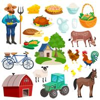 Verzameling van landelijke decoratieve Cartoon pictogrammen