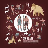 Stenen tijdperk mensen Icons Set