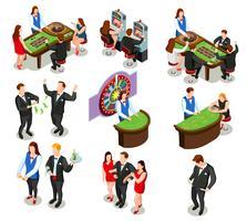 Casino isometrische decoratieve pictogrammen vector