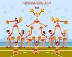 Cheerleader Team Stadium vlakke poster vector