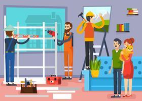 Bouw werknemers platte samenstelling Poster